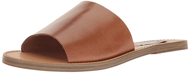 Steve Madden Women's Grace Flat Sandal, Cognac Leather, 7.5 M US