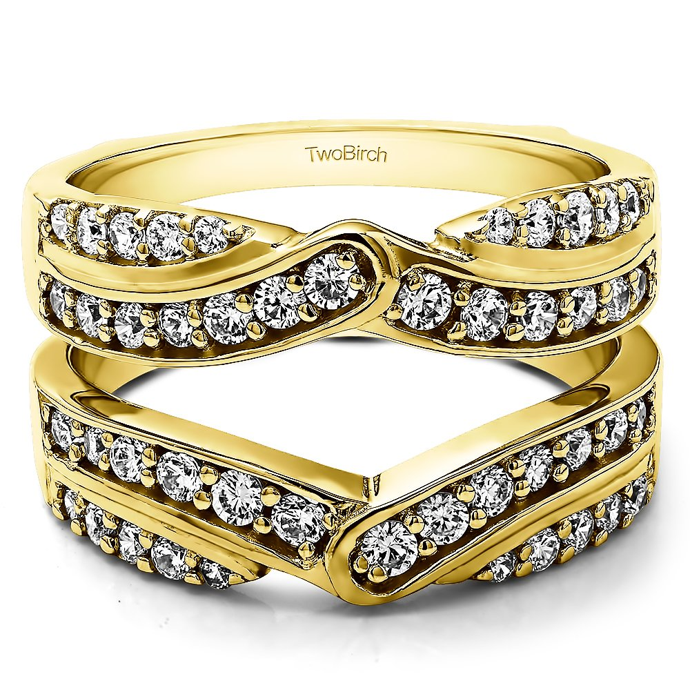 TwoBirch 1.01 Ct. Infinity Bypass Engagement Ring Guard in Yellow Plated Silver with Cubic Zirconia (Size 7)