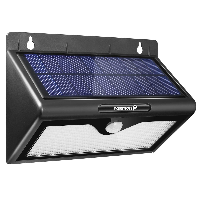 Solar Lights Outdoor Motion Sensor, Fosmon 46 LED Bright Security Lights Wireless IP64 Waterproof Outside Wall Lighting for Patio, Driveway, Deck, Entryway, Garden, Fencing, Garage - Black