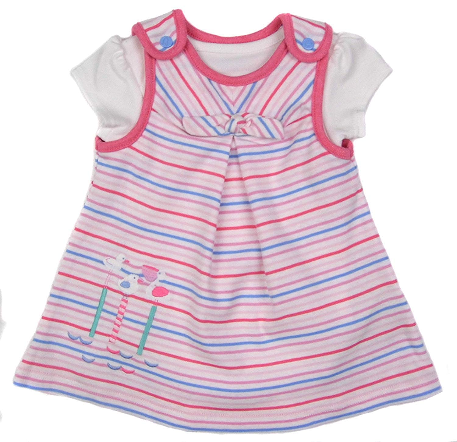 Ex-Store Baby Girls Dress and Short Sleeve Vest Set Pink Stripe Set 1M to 9-12M