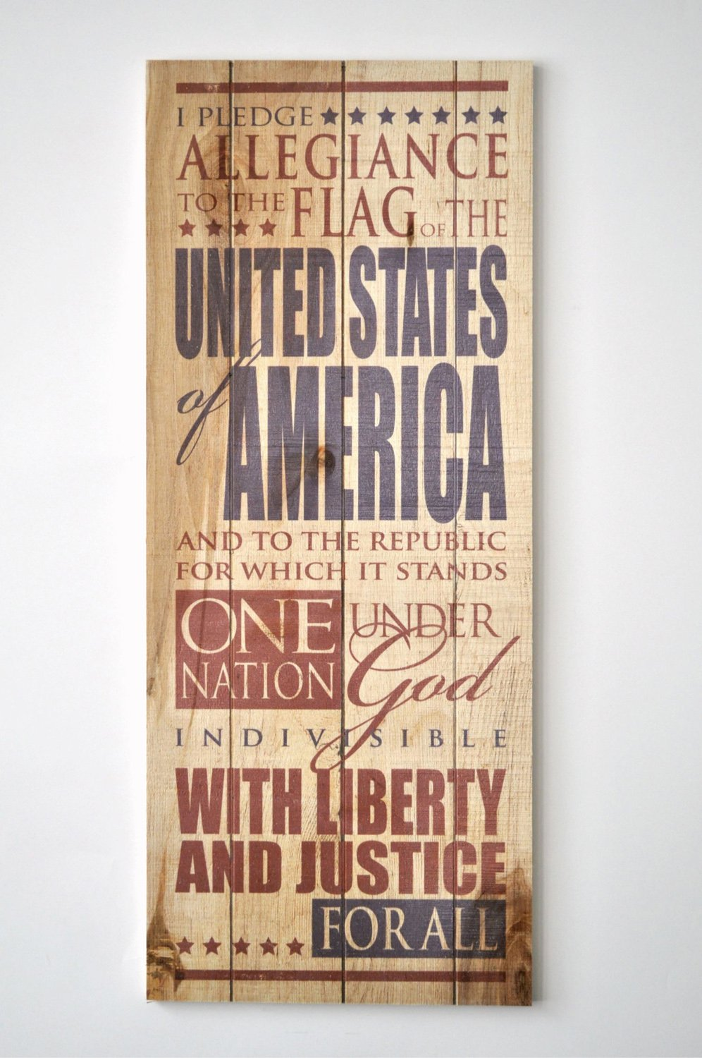 Pledge Allegiance to the Flag 9 x 22 Wood Pallet Design Wall Art Sign Plaque