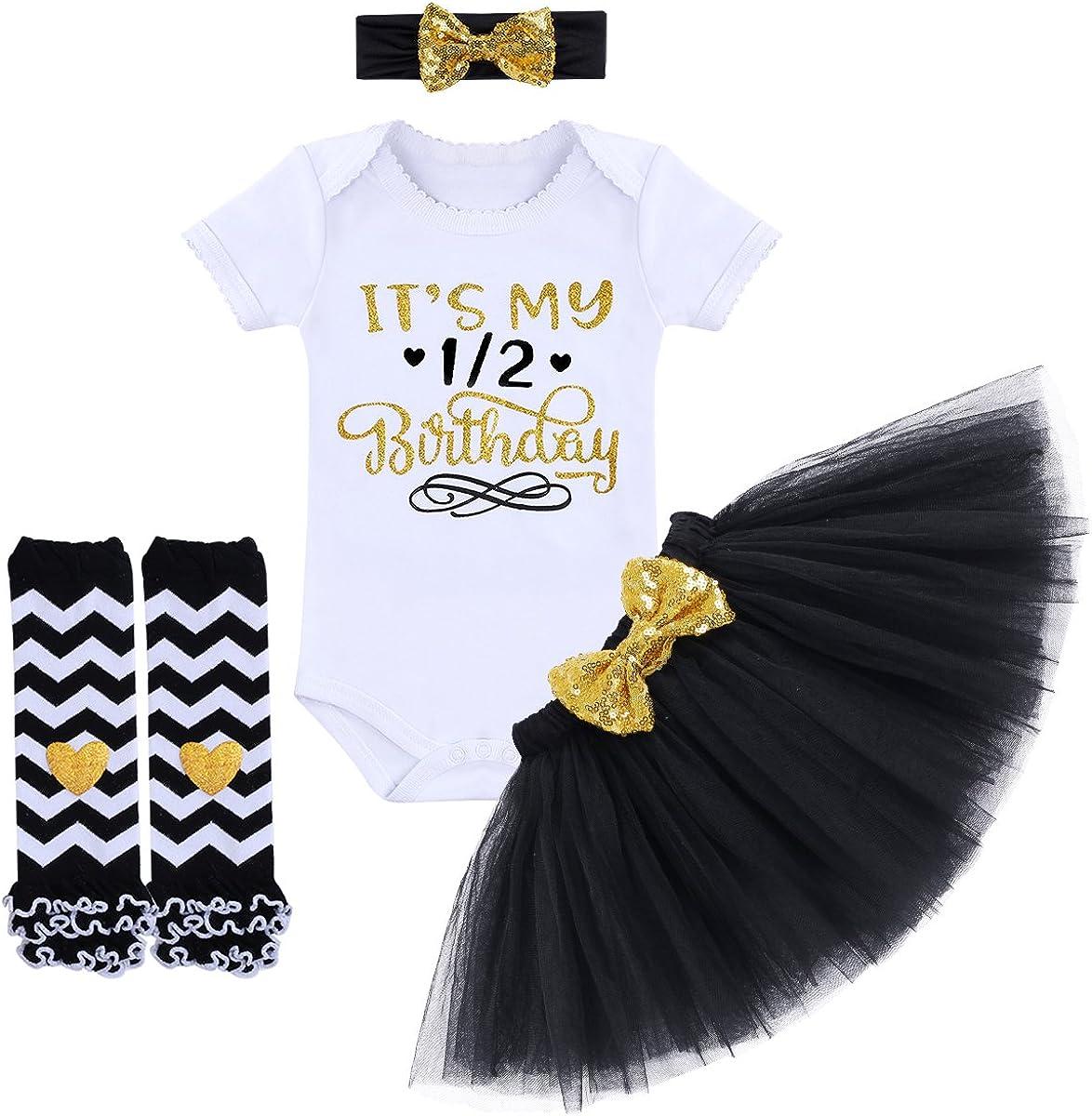 Baby Girls Skirt Set Short Sleeve Romper+Bow Tutu Dress+Headband+Leg Warmers 4Pcs Outfits