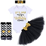 It's My 1st / 2nd Birthday Outfit Baby Girl Romper Tutu Skirt Glitter Sequin Bowknot Headband Leg Warmers Clothes 4pcs Set Cake Smash Photography Props