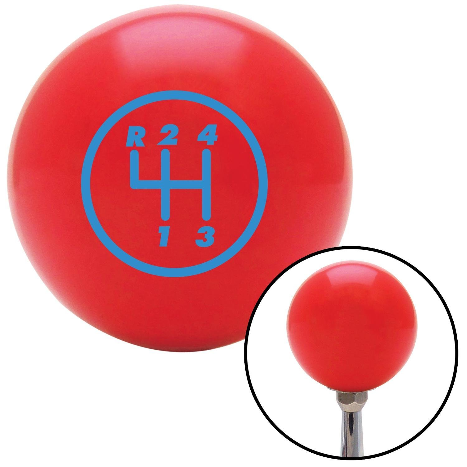 American Shifter 99696 Red Shift Knob with M16 x 1.5 Insert Blue 4 Speed Shift Pattern - 4RUL