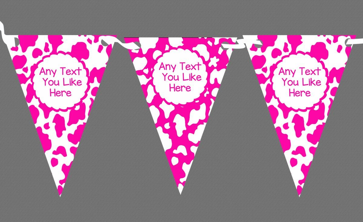 Cow Print Animal Pink & White Personalised Children's Birthday Party Bunting