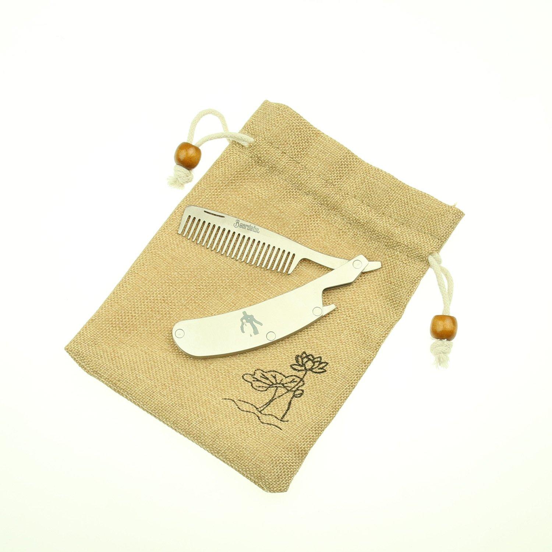 Magic Show Folding Stainless Steel Beard Comb Mustache + Bottle Opener Pocket Tool Men Gift