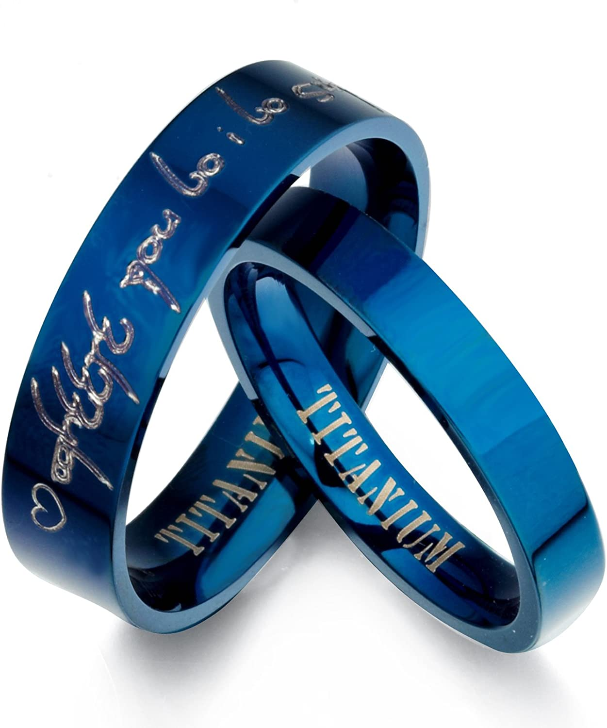 Gemini Personalized Elvish Tengwar His and Her Blue Titanium Promise Wedding Bands Rings Set Flat Comfort Fit Valentine Day Gift