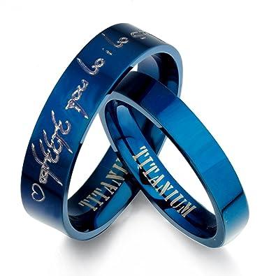 gemini personalized elvish tengwar his hers blue titanium promise wedding bands rings set flat - Blue Wedding Ring Set