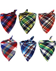 Dog Bandanas,EYLEER 6 Pack Cotton Reversible Plaid Triangle Doggie Puppy Cat Bandanas Bibs Scarf Kerchief Accessories for Small Medium Large Dogs,Cats and Other Animals