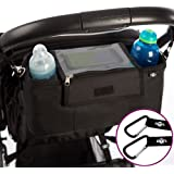 BEST STROLLER ORGANIZER Plus 2 x FREE Stroller Hooks & WATERPROOF Cover. UNIVERSAL Fitting For ALL Strollers Plus Exclusive Phone-Flip-Pocket Cell Phone Holder. Must Have Stroller Accessory