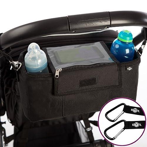 BTR Pram Buggy Organiser Storage Bag for Buggies, Exclusive Phone-Flip-Pocket Mobile Phone Holder & Waterproof Rain Cover, Plus 2x FREE Buggy Clips