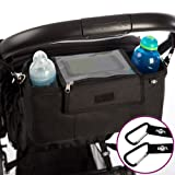BTR Pram Buggy Organiser Storage Bag for Buggies, Exclusive Phone-Flip-Pocket Mobile Phone Holder and Waterproof Rain Cover. 2 x Buggy Clips. A Must Have Pram and Buggy Accessory