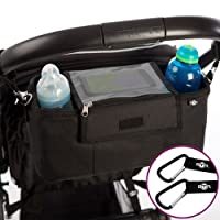 Buggy Pram Bag Organiser with Waterproof Raincover & 2 x Pram Hooks – by BTR