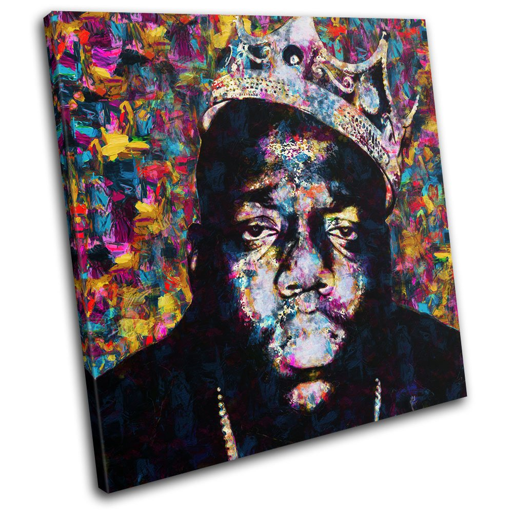 Bold Bloc Design - Notorious BIG Biggie Iconic Celebrities 40x40cm SINGLE Canvas Art Print Box Framed Picture Wall Hanging - Hand Made In The UK - Framed And Ready To Hang Bold Bloc Design Ltd.