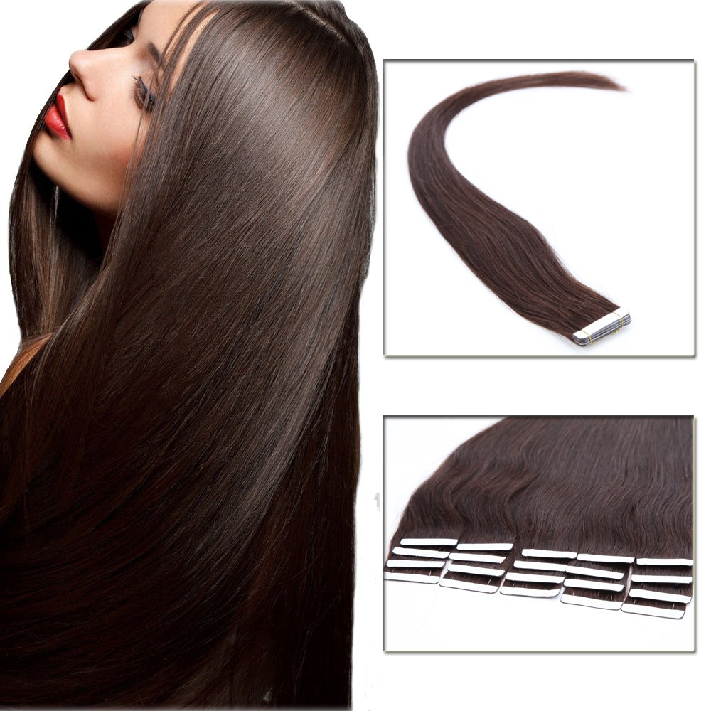 100% Remy Tapes in Virgin Human Hair Extension 18'' Straight Seamless Skin Weft Hair Bonding Double Sided Tape 20Pcs/30g (Dark Brown #2) + 10pcs Free Tapes