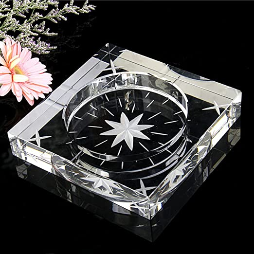 LT&NT Cenicero de cristal moderno fumador de cristal engrosado ...