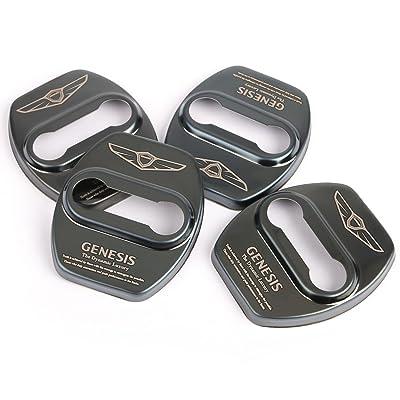 Four1Korea Stainless Steel Door Lock Striker Cover Emblem Laser Marking Trim for Hyundai Genesis G80 (Black): Automotive