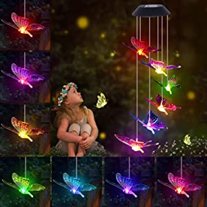 Arsir Outdoor Butterfly Wind Chimes, LED Solar Color WindChimes Light Up Outside Garden Yard Hanging Decorations & Indoor Home Patio Decor Mom Grandma Gifts for Women Mother's Day Birthday Christmas