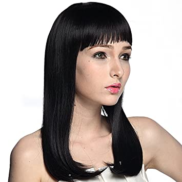 Amazon Namecute Black Wig Long Straight Hair Replacement Wigs