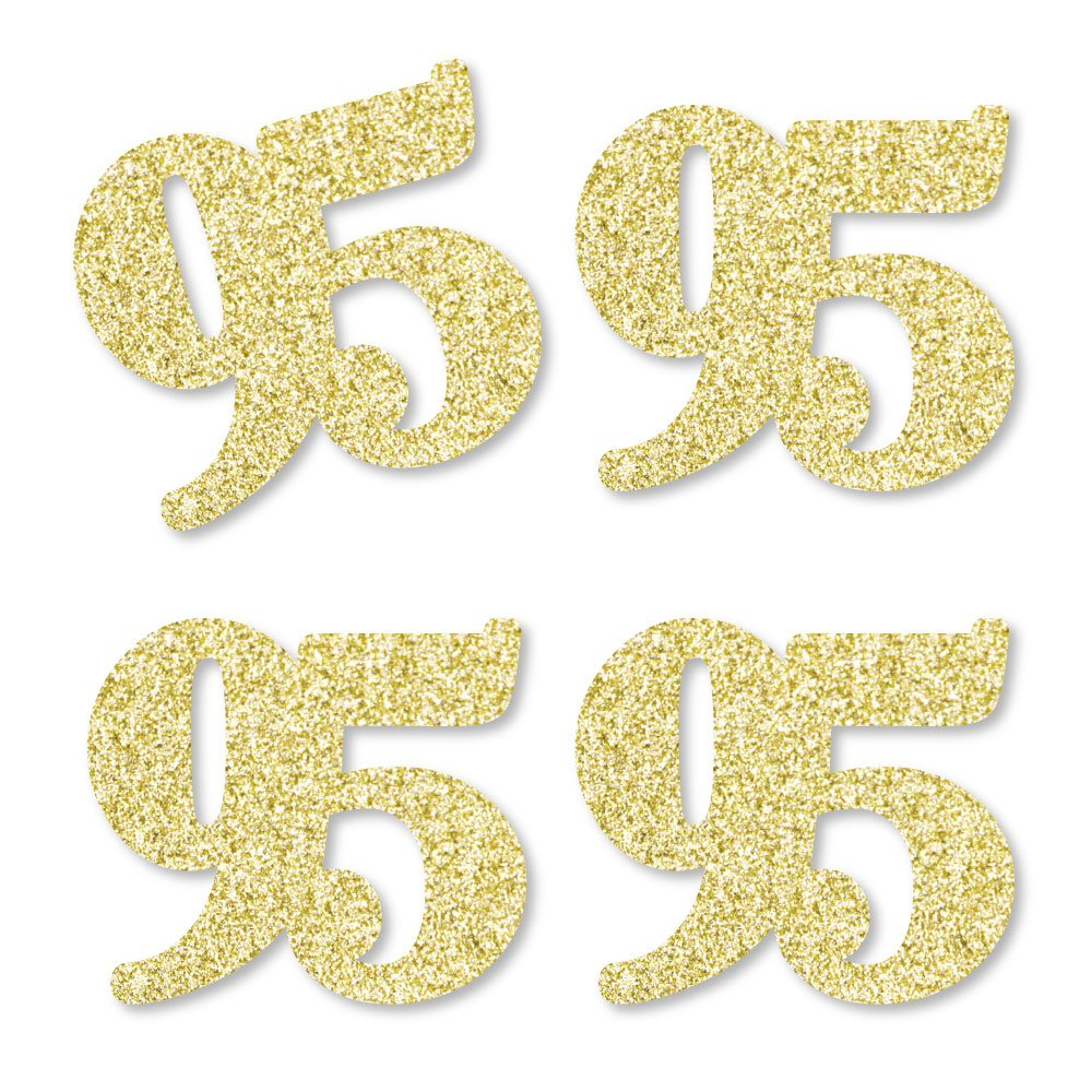 Gold Glitter 95 - No-Mess Real Gold Glitter Cut-Out Numbers - 95th Birthday Party Confetti - Set of 24