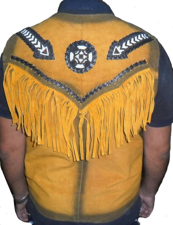 Classyak Men's Western Suede Gold Leather Vest