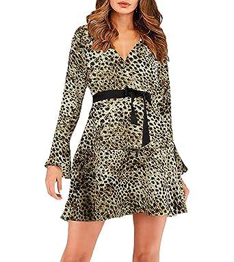 e07a7faab49 Loalirando Robe Evasée Femme Col V à Manches Longues Imprimé  Léopard Serpent Chic à la Mode sans Ceinture  Amazon.fr  Vêtements et  accessoires