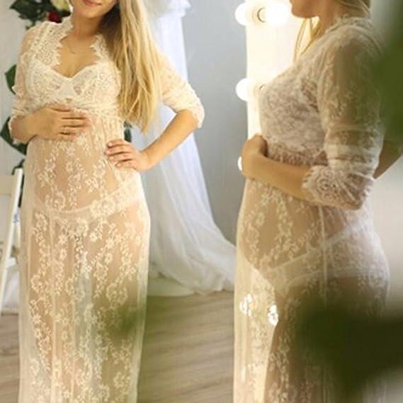 Imixcity Vestido de Noche de Las Mujeres Embarazadas Cuello en V Profundo Manga Larga Ver a través del Vestido de Encaje Maxi Vestido de Playa Vestido de ...
