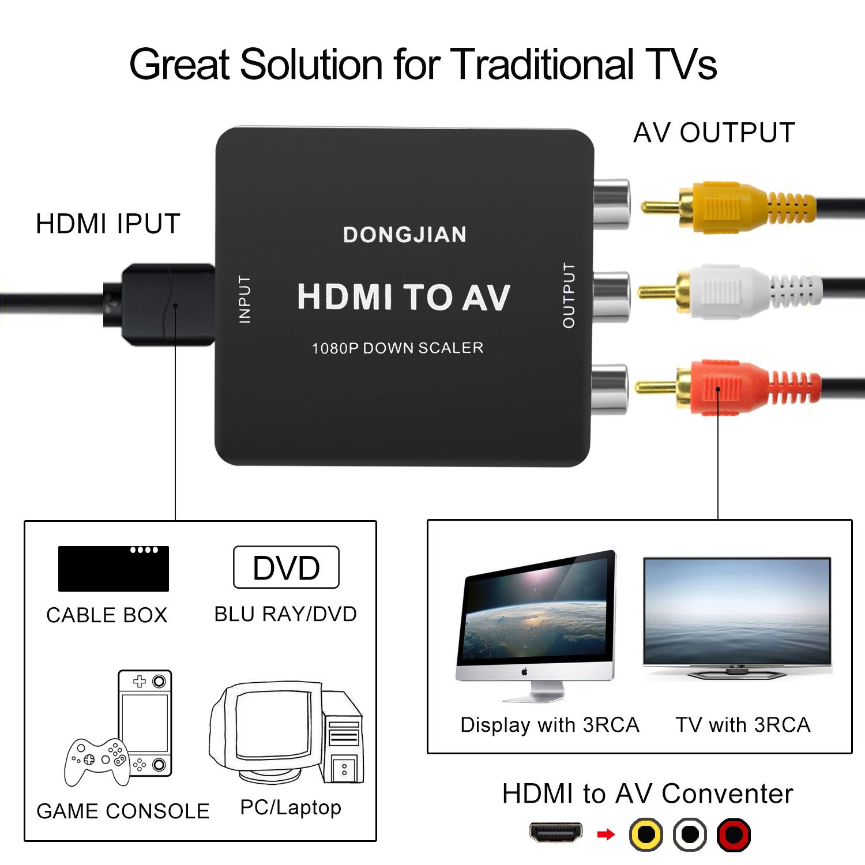 Amazon.com: DONGJIAN HDMI to RCA Converter 1080P HDMI to AV 3RCA ...