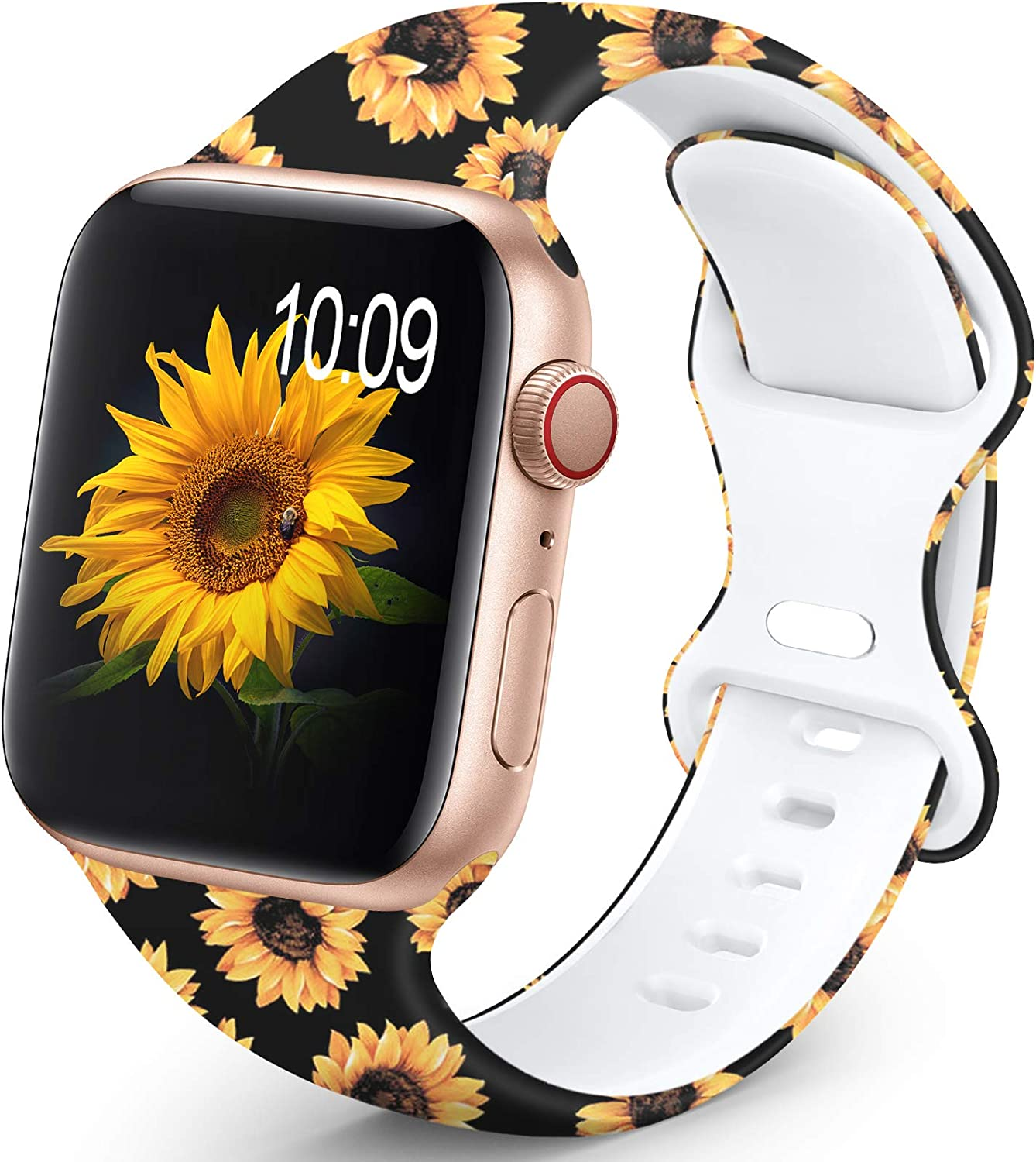 OHOTLOVE Compatible with Apple Watch 38mm 40mm 42mm 44mm for Women Men, Soft Silicone Pattern Printed Replacement Wristband Band For Iwatch Series 6 & Series 5 4 3 2 1.Sunflower A