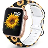OHOTLOVE Compatible with Apple Watch 38mm 40mm 42mm 44mm for Women Men, Soft Silicone Pattern Printed Replacement Wristband B