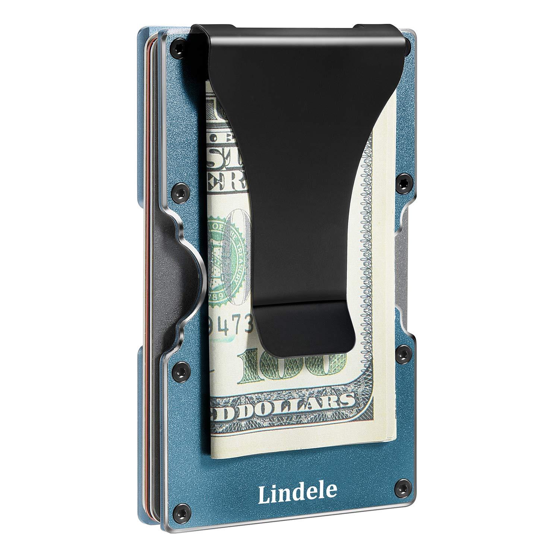Lindenle Womens Minimalist Slim Wallet RFID Blocking Aluminum Card Holder Money Clip (Dark Green Gray) by Lindenle