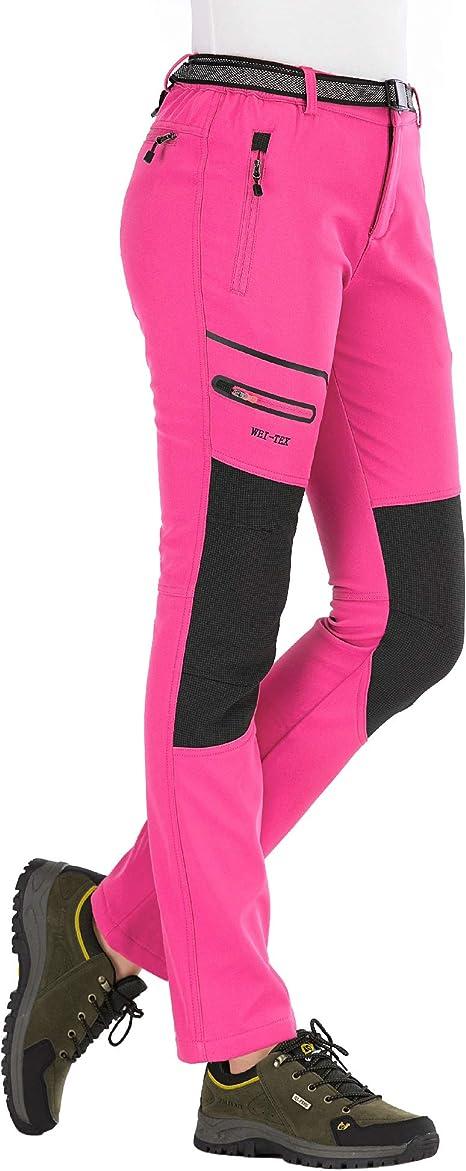 DENGBOSN Pantaloni Trekking Donna Invernali Impermeabile Caldo Pantaloni Softshell Outdoor Pantaloni da Arrampicata Escursionismo S, A Rosa