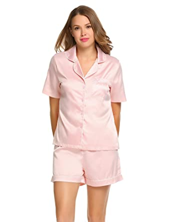d727bf14bd ... release date 5f734 54096 MH-RITA Turn Down Collar Nightwear Womens  Satin Short Sleeve Solid ...
