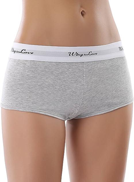 Wingslove Mujeres Pack de 3 Algodón Bóxer Minishorts Braguita Deportiva Ropa Interior Culotte (Medium, Gris (Pack de 3)): Amazon.es: Ropa y accesorios