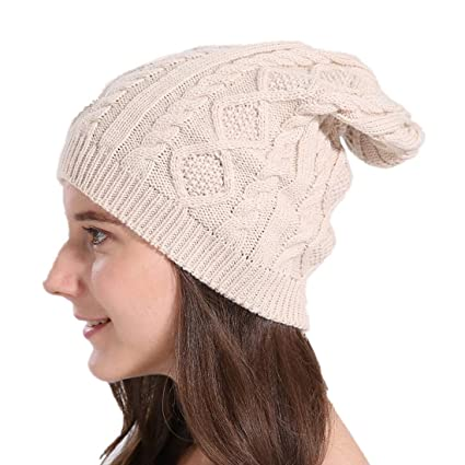 CAPIN Warm   Stylish Skull Beanie Hats Thick Soft   Chunky Cable Knit Cap  for Women (Beige) at Amazon Women s Clothing store  765949345e91