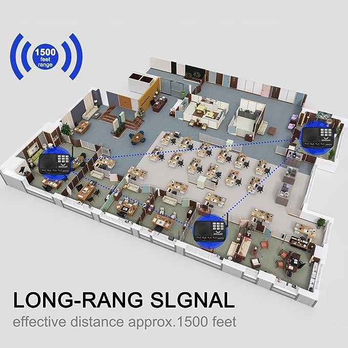 nueva versi/ón 2019 2 estaciones negras HOSMART Sistema de intercomunicador inal/ámbrico con seguridad de 10 millas de largo alcance y 10 canales para el hogar o la oficina