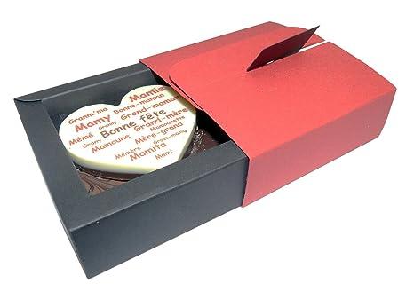 CHOCOLAT FETE DES GRANDS MERES COFFRET NINA  quot Maxi coeur en chocolat personnalisé  Bonne fête 73067408443