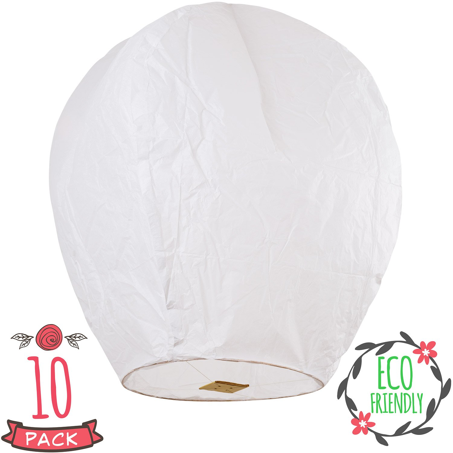 Sky High Chinese lanterns fully assembled and fully biodegradable, sky lantern by Coral Entertainments for any occasion. Birthday, wedding, anniversary, funeral, memorial, 10-pack white