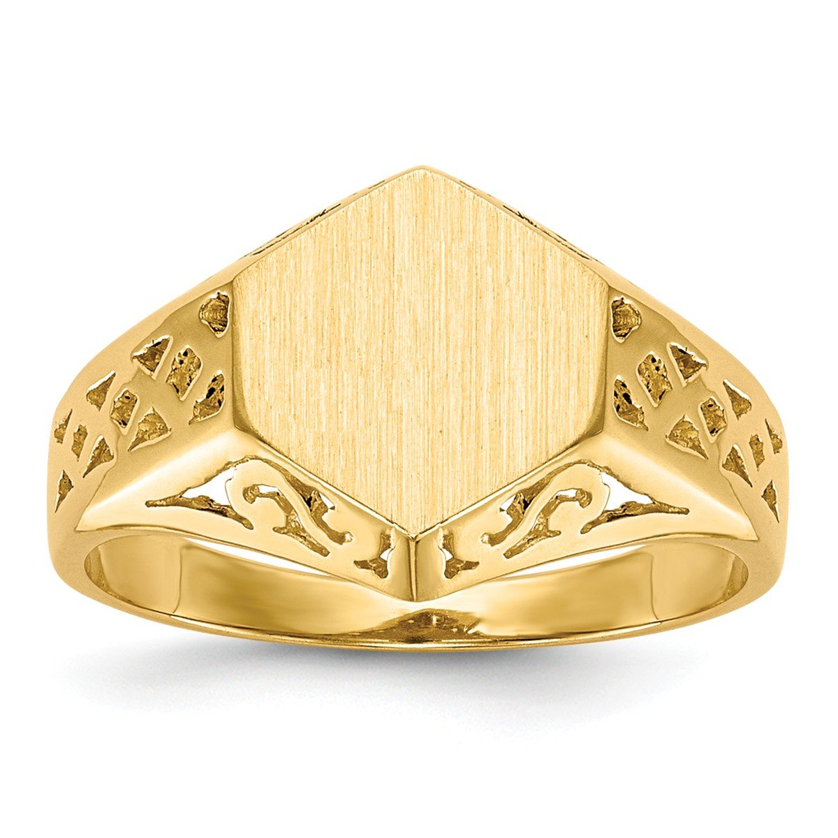 Roy Rose Jewelry 14K Yellow Gold Open Back Womens Cut-out Sides 6-sided Top Signet Ring Custom Personailzed with Free Engraving Available Initial or Monogram ~ Size 4