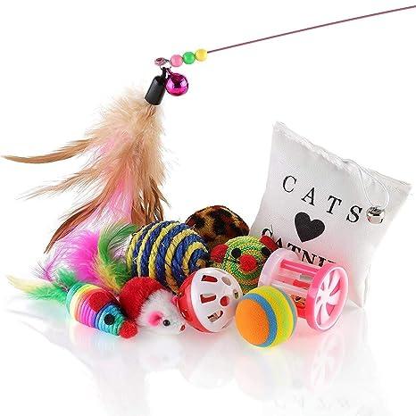 Juguetes de lujo para gatos y gatitos, caja de regalo variada (10 unidades)