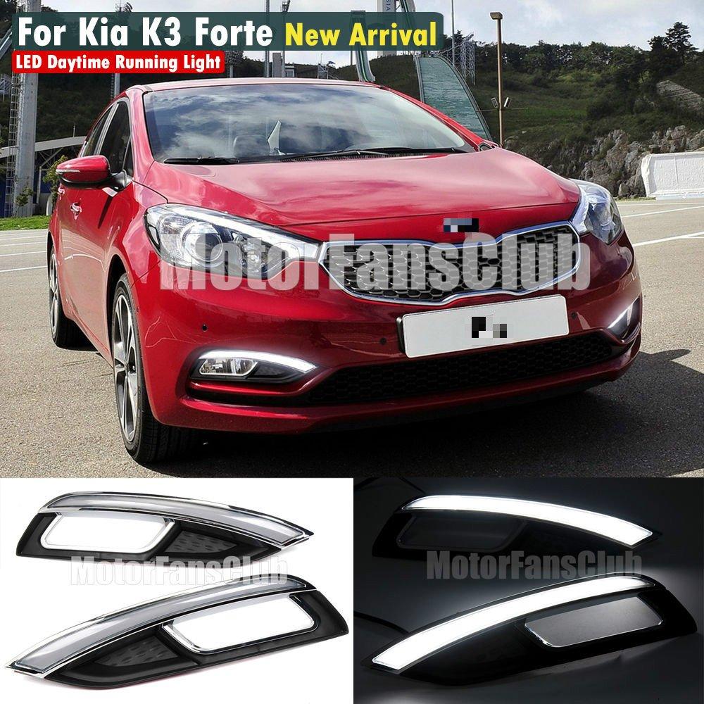 Motorfansclub Led Daytime Running Light Drl Fog Lamp Kia Cerato 2013 Under Hood Cover For Forte K3 2014 2016 Automotive