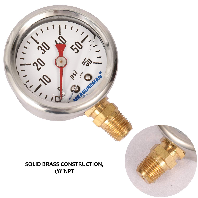 Glycerin Filled Fuel Pressure Gauge 1//8NPT Lower Mount Measureman 1-1//2 Dial Size 0-60Psi -3-2-3/% 304 Stainless Steel case