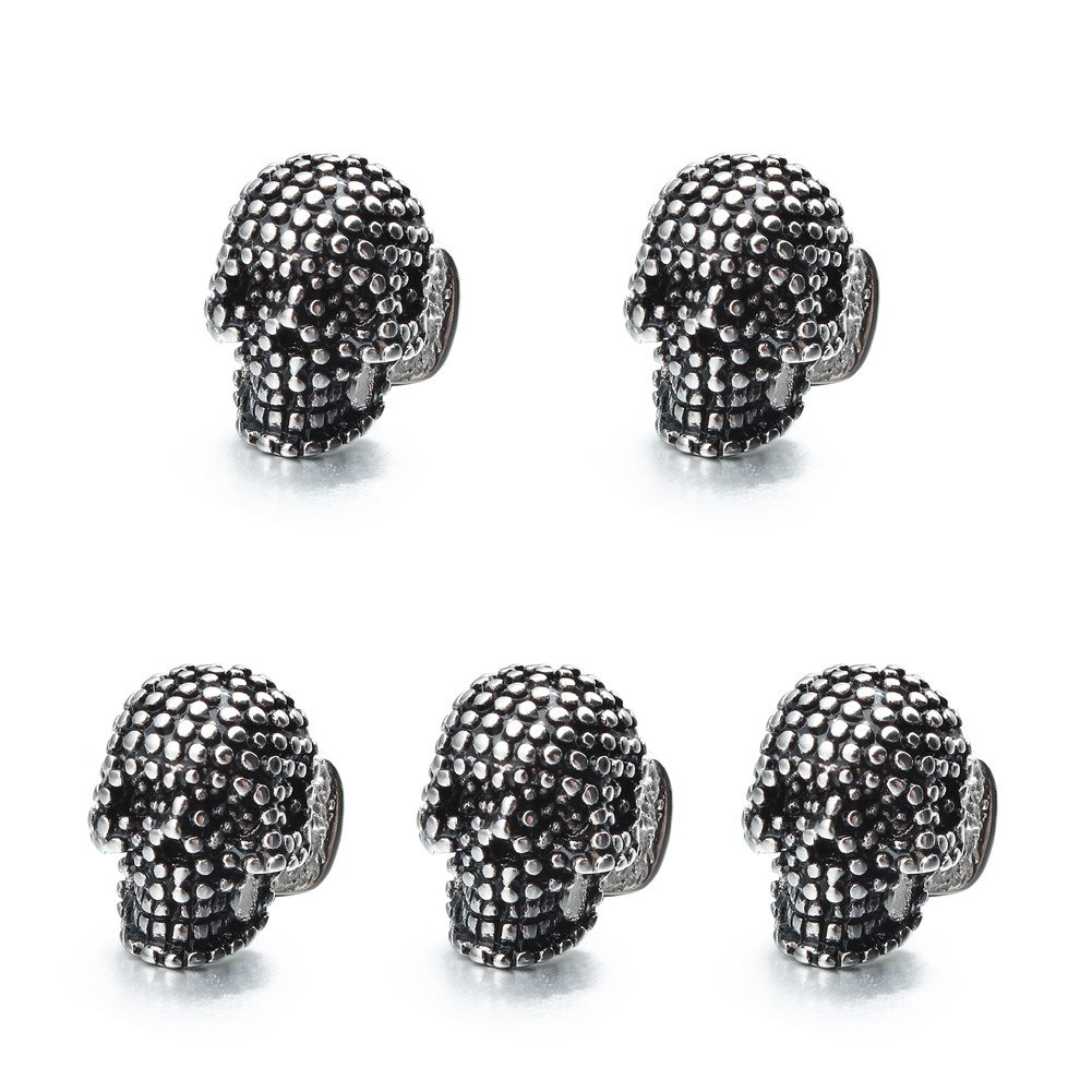 HAWSON Skull Black 5 Dress Shirt Studs Set for Tuxedo Party Accessories Gift