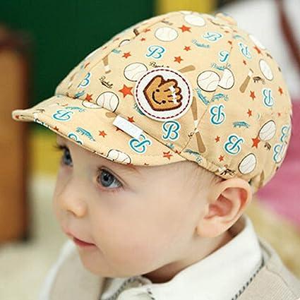 47b9e08619b Creazy Baby Boy Girl Kid Toddler Infant Hat Peaked Baseball Beret Cap  (Beige)