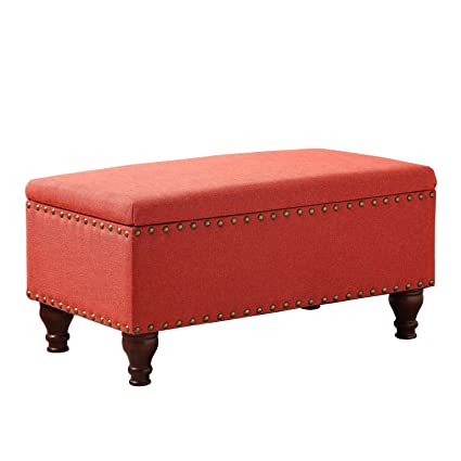 Amazing HomePop Linen Storage Bench With Nailhead Trim And Hinged Lid, 35.5 X  19.5u0026quot; X