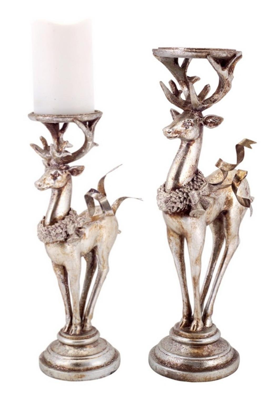 Distressed Silver Deer Christmas Candle Holders Set of 2 | ChristmasTablescapeDecor.com