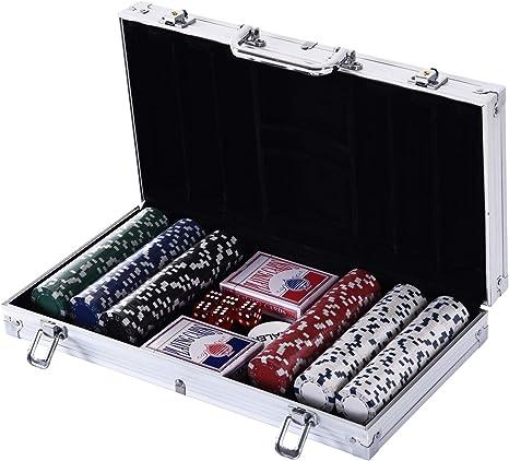 HOMCOM Maletín de Poker Profesional con 500 Fichas y 2 Barajas ...