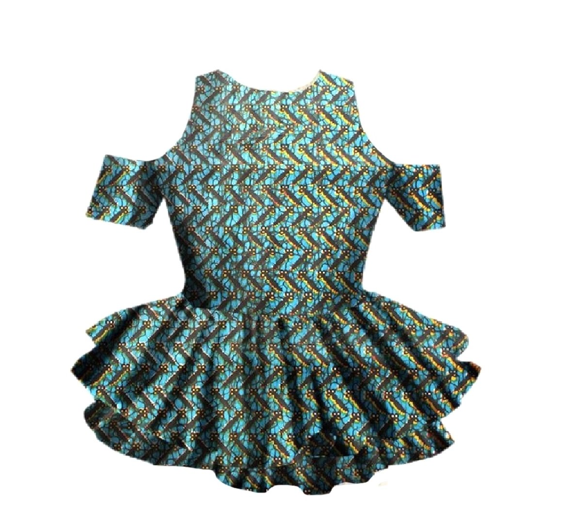 Abetteric Women Cut out Shoulder Plus-size African Wax Fabric T-Shirt Top Lake Blue 5XL