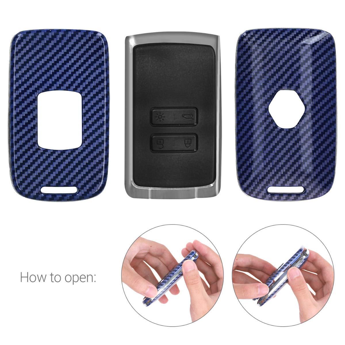 Dura Carcasa Protectora para Mando de Llave Smart Key de 4 Botones para Coche Renault - en Azul Solamente Keyless Go kwmobile Funda para Llave de Coche Renault