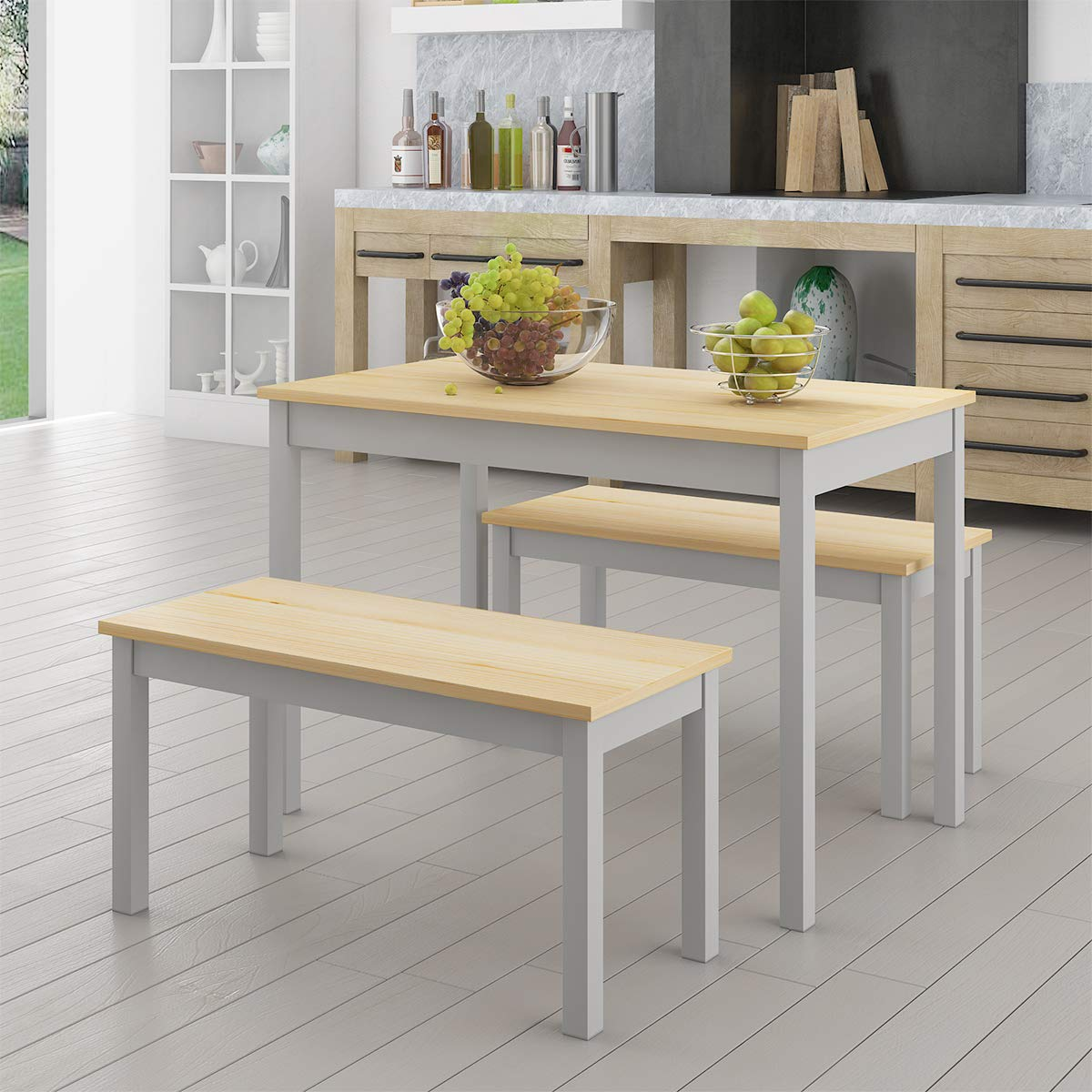Panana Dining Table And Bench Set Wooden Dining Table And 2 Chairs Modern Kitchen Dining Room Furniture Pine Wood Grey Table And 2 Benches Buy Online In Papua New Guinea At Desertcart
